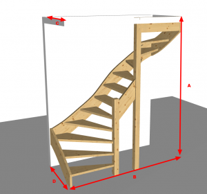 Dubbelkwart trap met twee kwarten